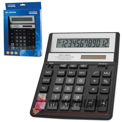 Калькулятор наст 12раз 158*203мм Citizen SDC-888 XBK