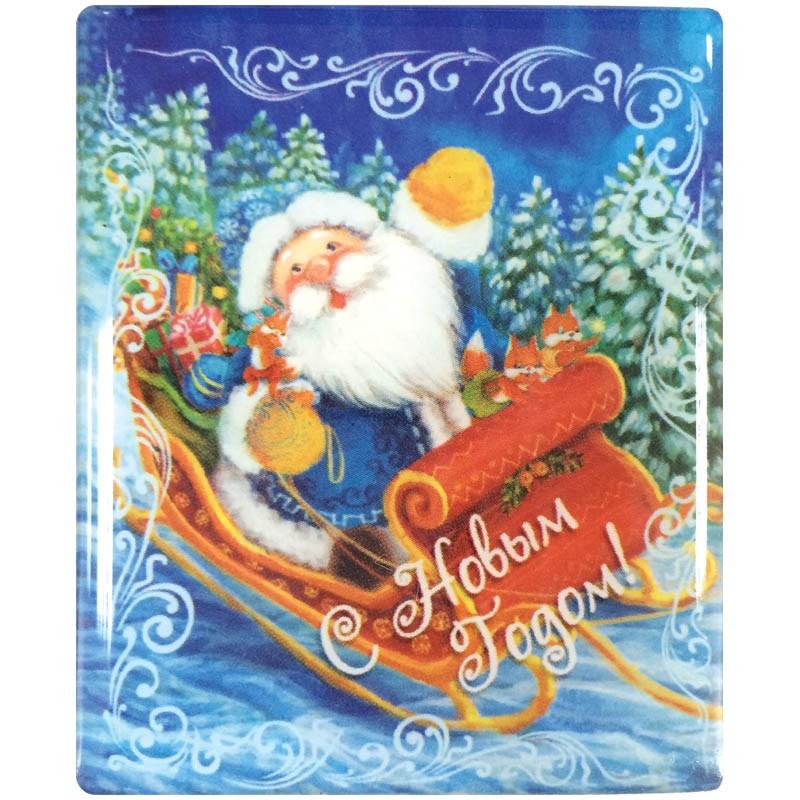 Магнит 6*6см Дед мороз в санях 38375
