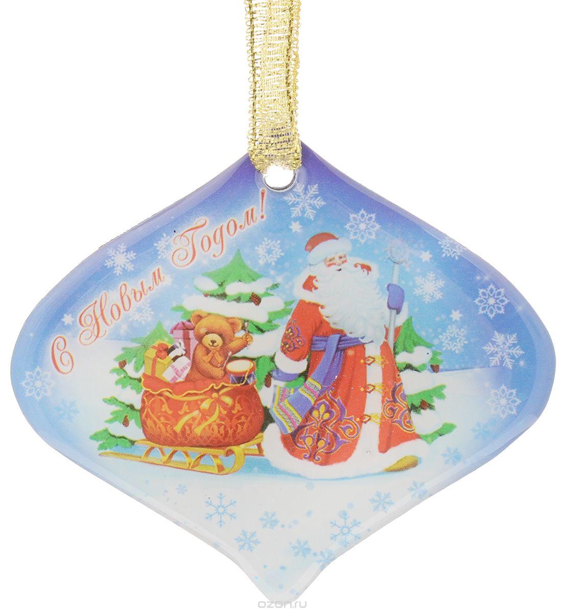 Магнит 6*6см Дед мороз с мишкой в санях 38365