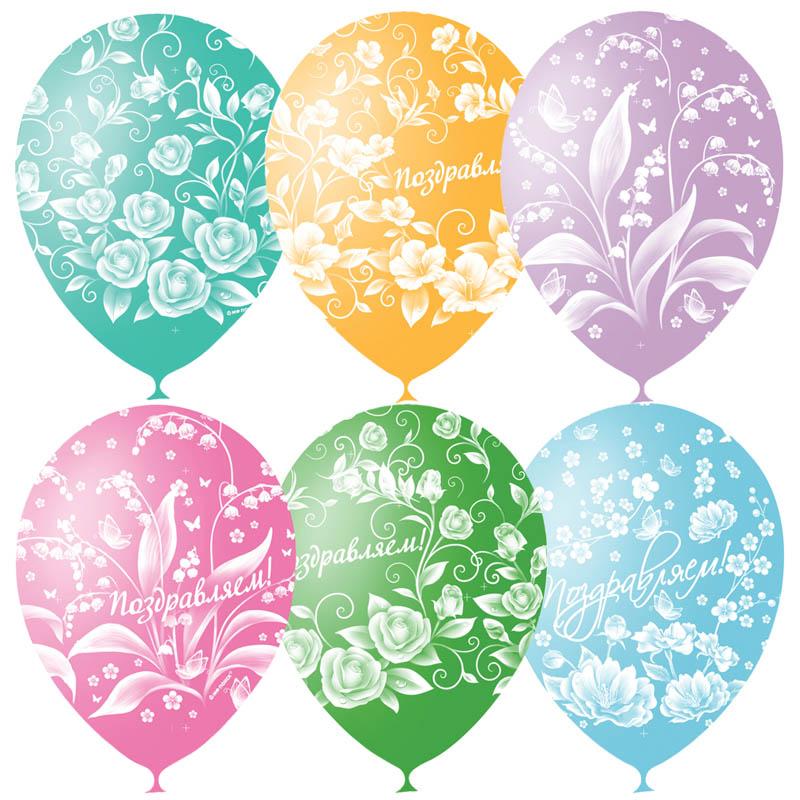 Шар воздушный 30см. Праздничная тематика Цветы 12цв. 25шт/уп. 4690296041007