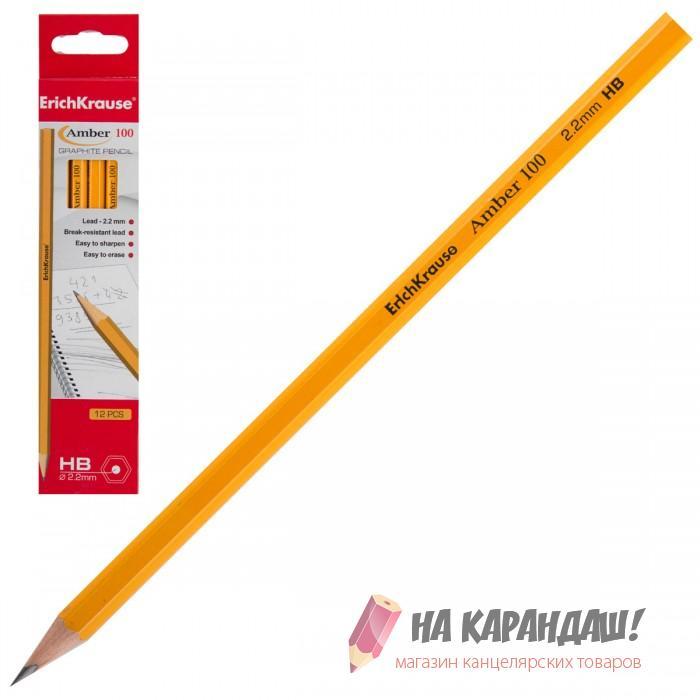 Карандаш граф б/л 6-гр EK32838 НВ Amber желтый /12/