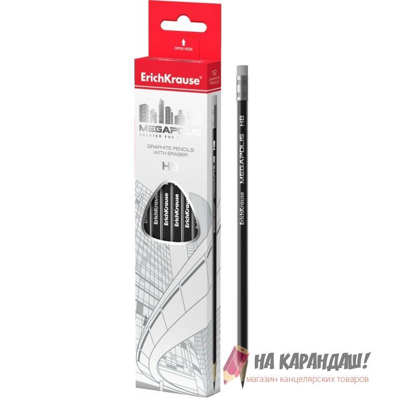 Карандаш чернографитный с ластиком трехгранный заточенный НВ Megapolis 43577