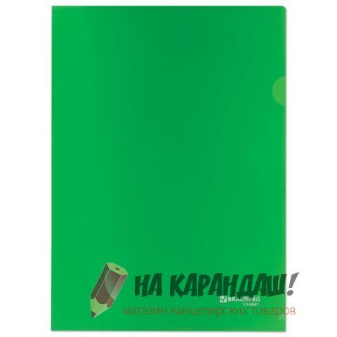 Папка-уголок А4 Brauberg 150мк н/пр зеленая 224881