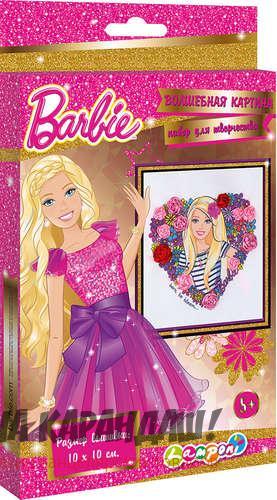Набор для детского творчества Волшебная картина Barbie ткань+нитки+бисер+ленты+игла+инструкция BRCA-UA1-FP1-BOX