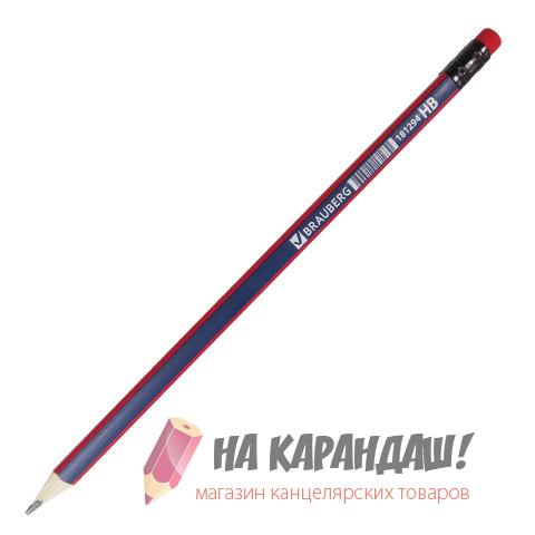 Карандаш графит с ластиком 3-гр Brauderg Stripes HB 181294