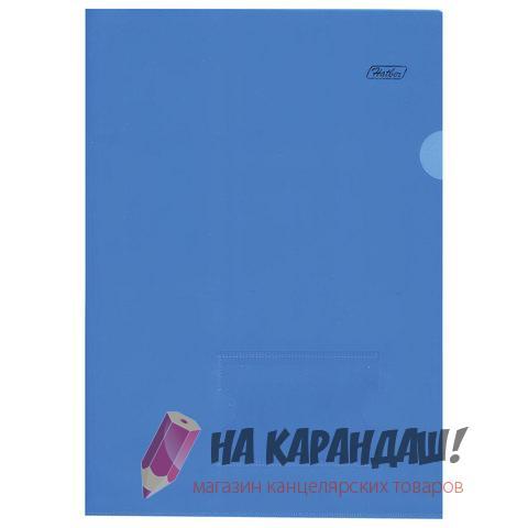 Папка-уголок А4 Hatber 180мк AG4_00102 прозр син карман