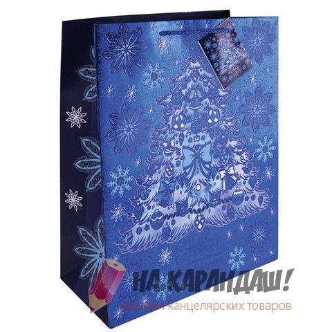 """Пакет подар лам. 17.8*22.9*9.8см  250г/м  """"Елочка в голубом""""  75353"""