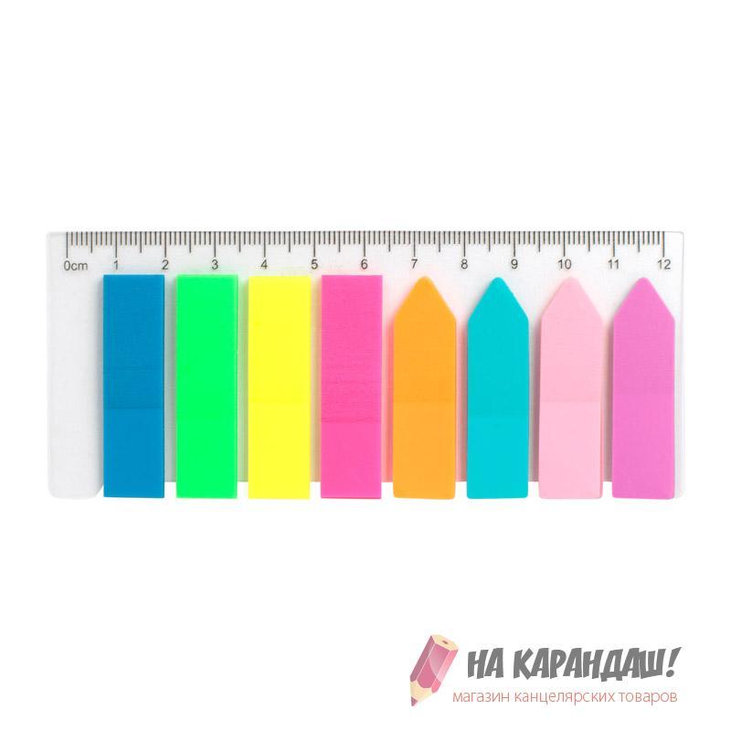 Стикер-закладки 12*45мм 8*25л 200шт прямоуг+стрелка Неон D2451
