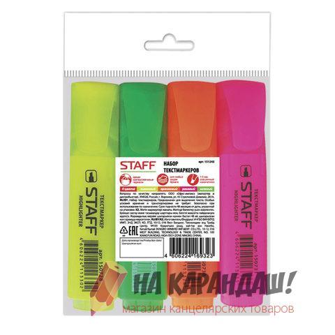 Набор маркеров текст пл/к 4цв Staff 1-5мм желтый, зеленый, оранжевый, розовый 151243