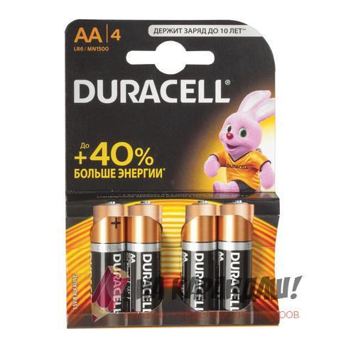 Батарейки Duracell AA LR6 4шт/уп 450402