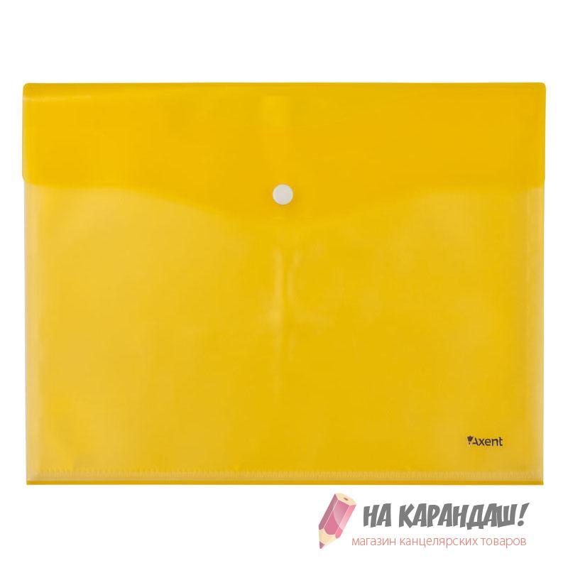 Конверт на кнопке А4 AX1423-08 180мк 5ф желт