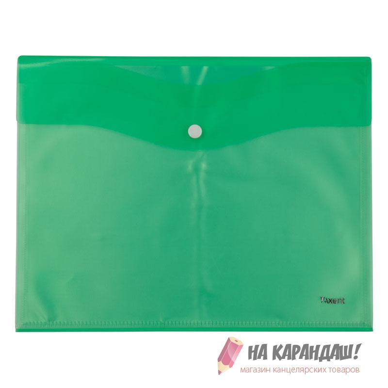 Конверт на кнопке А4 AX1423-09 180мк 5ф салат