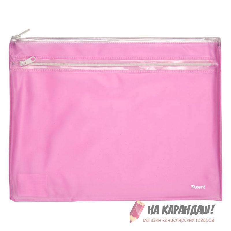 Папка-конверт на молнии А4 2отд с карм 250мкм PVC AX1427-10 розов