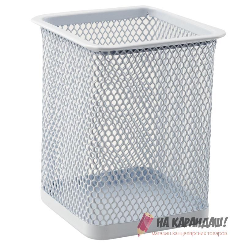 Подставка-органайзер для офисных принадлежностей металлическая сетка квадратная 2111-21 белая