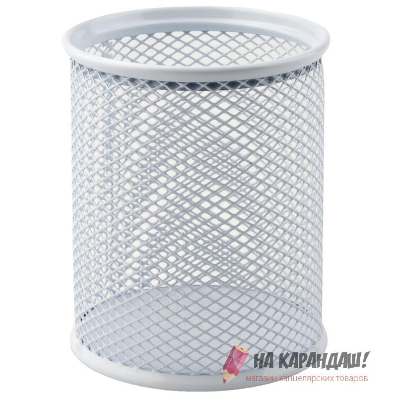 Подставка-органайзер для офисных принадлежностей металлическая сетка круглая 2110-21 белая