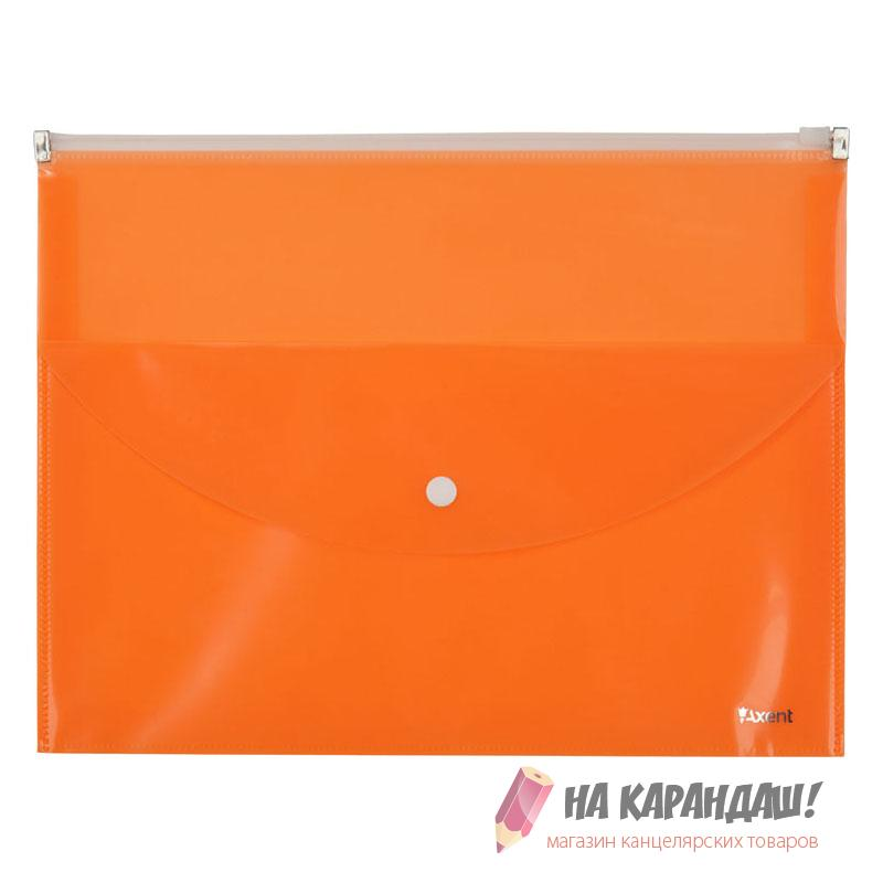 Конверт на молнии А4 Zip lock 2отд с карм н/кн AX1430-12 оранж