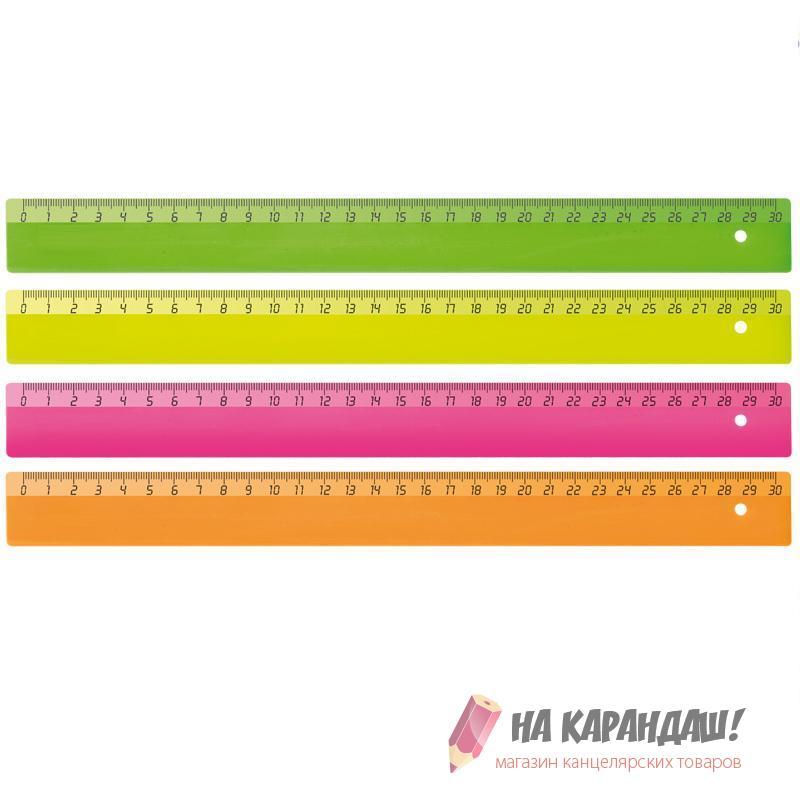 Линейка пластиковая 30см непрозрачная Neon 138433