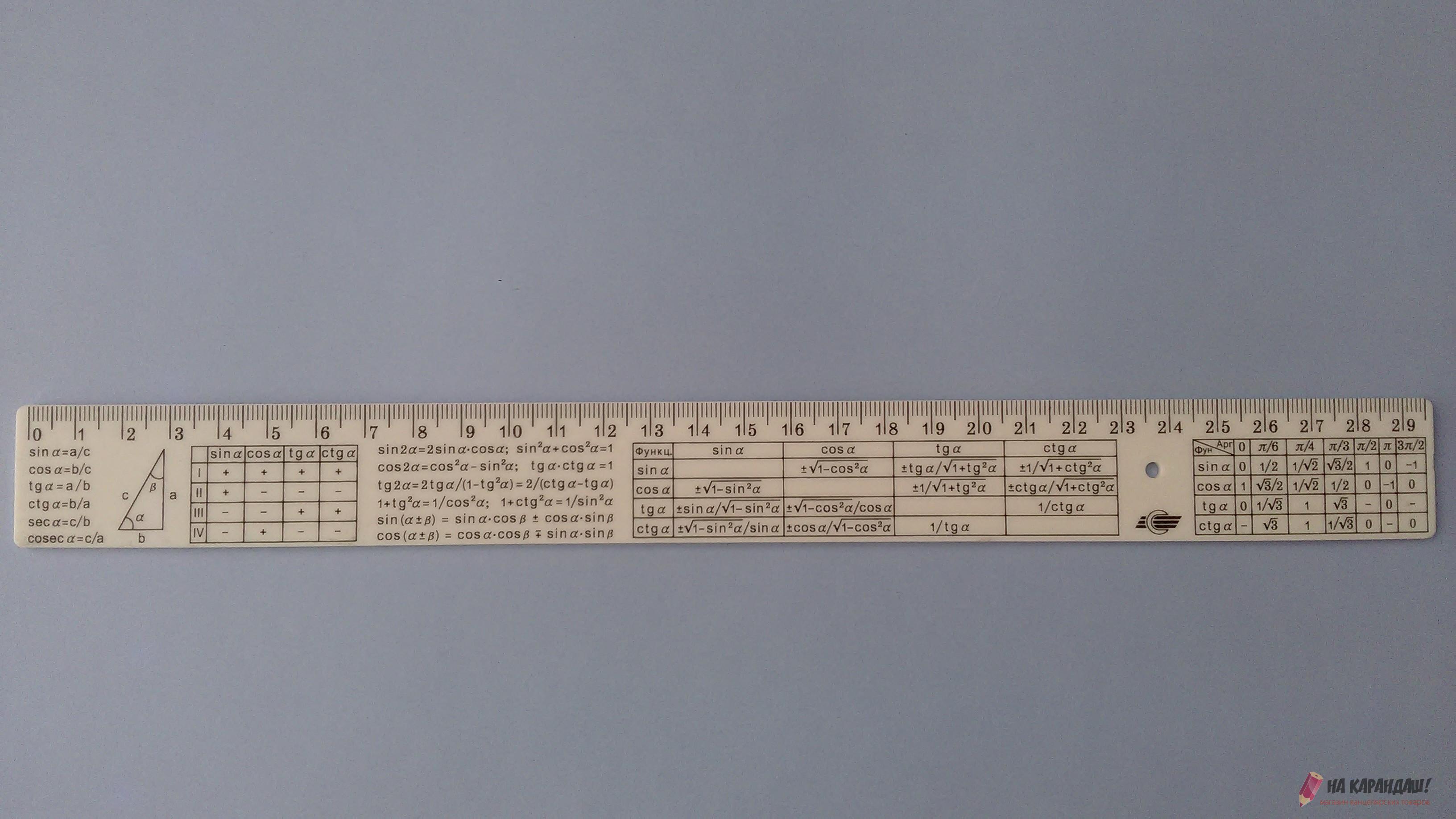 Линейка шпаргалка пластиковая 30см непрозрачная алгебра