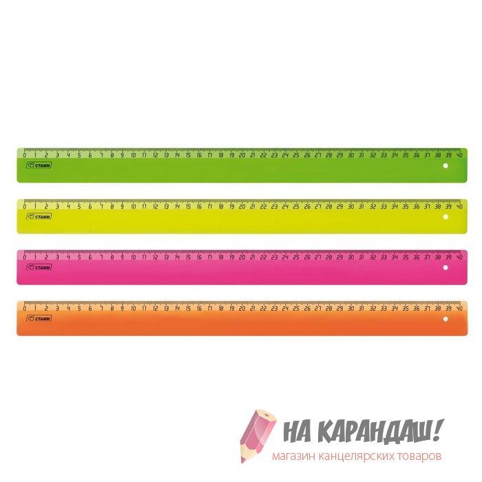 Линейка пластиковая 40см непрозрачная Neon ЛН510
