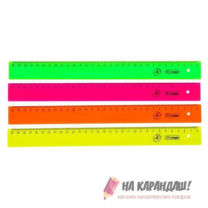Линейка для левшей пластиковая 30см непрозрачная Neon ЛН38