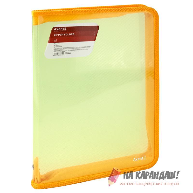 Папка-пенал н/молн А4 Axent 550мк проз желт 1801-25 /12/