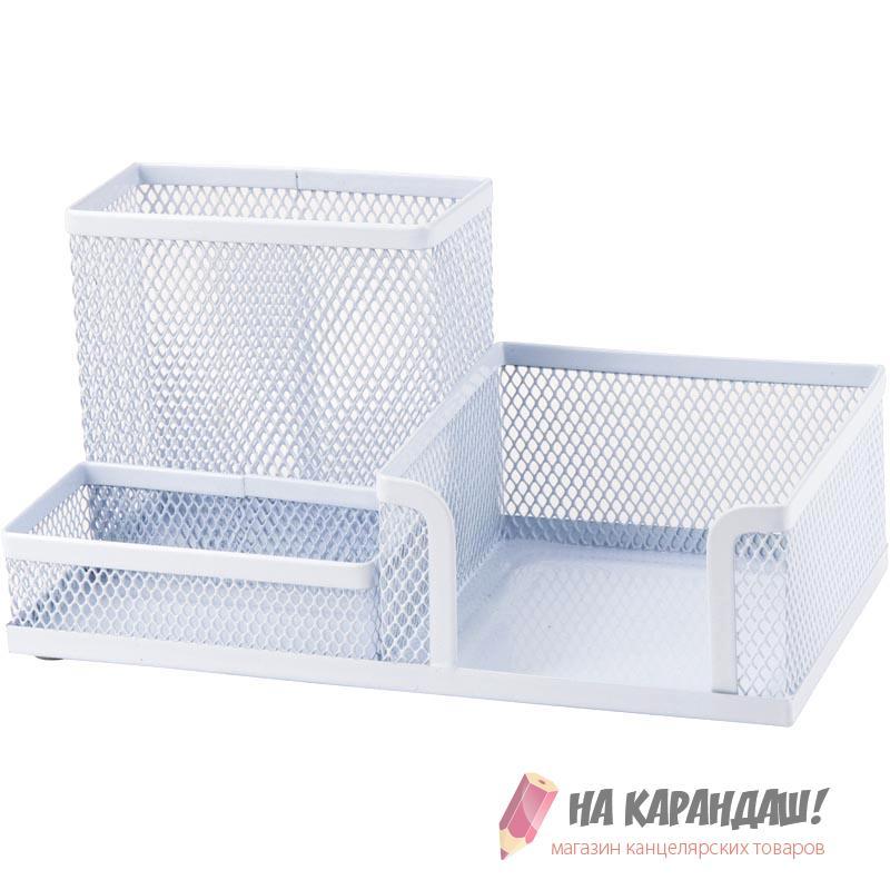 Подставка-органайзер для офисных принадлежностей металлическая сетка 3 отделения 2116-21 белая