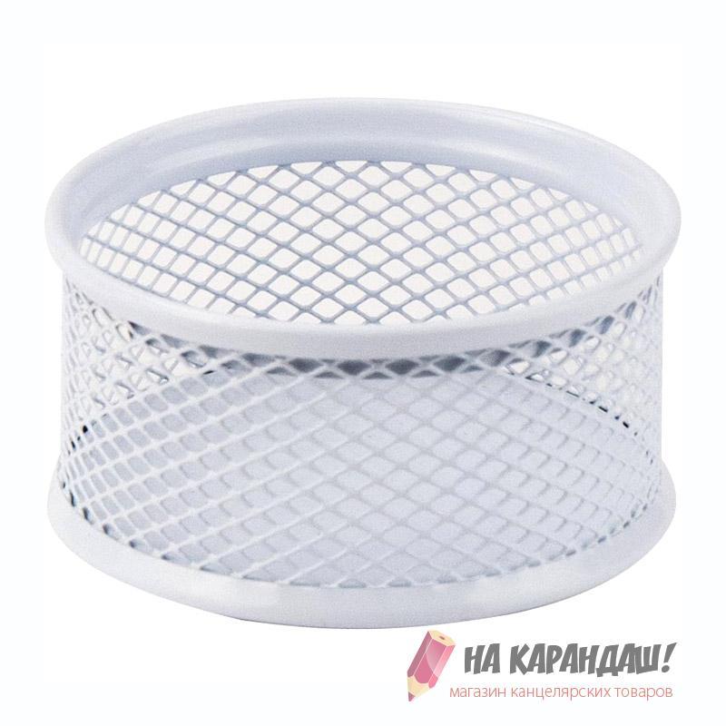 Подставка для скрепок мет AX 2113-21 80*80*40мм круг бел
