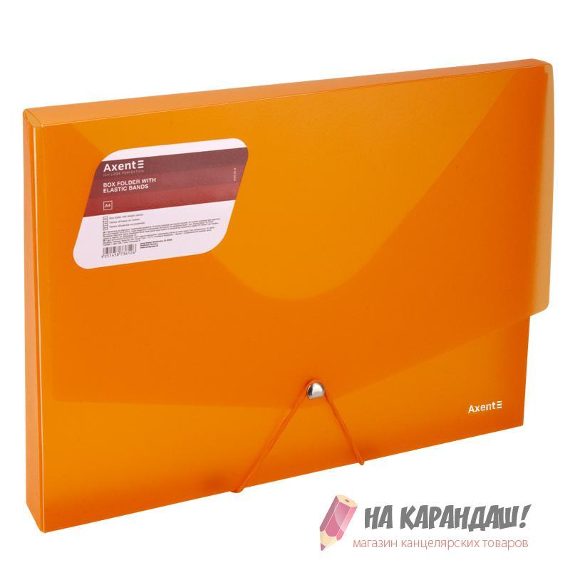 Папка-бокс на резинке А4 30мм Axent 1502-25 800мк проз оранж /12/