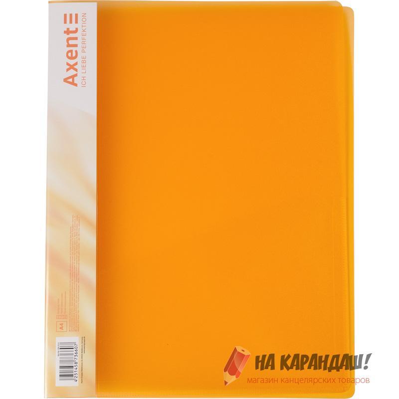 Скоросшиватель А4 усы с карм АХ1304-25 700мк прозр оранж
