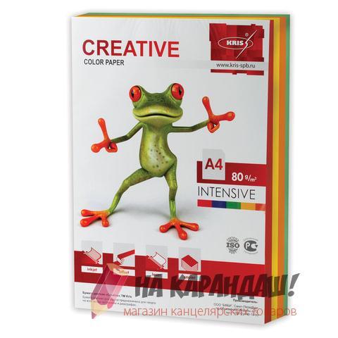 Бумага цв А4 (250л) 80g (5цвх50л) Intensiv CC БИрг-250 цветная 45414