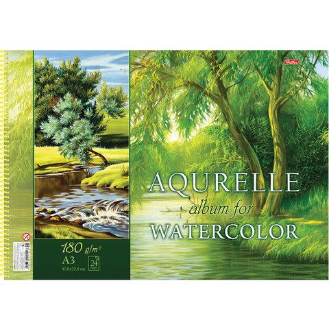 Альбом для акварели А3 24л н/сп ж/подл 180г/м Природа Hb_18301