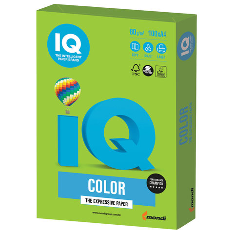 Бумага цв А4 (100л) 80g Intensive IQ MA42 ярко-зеленый
