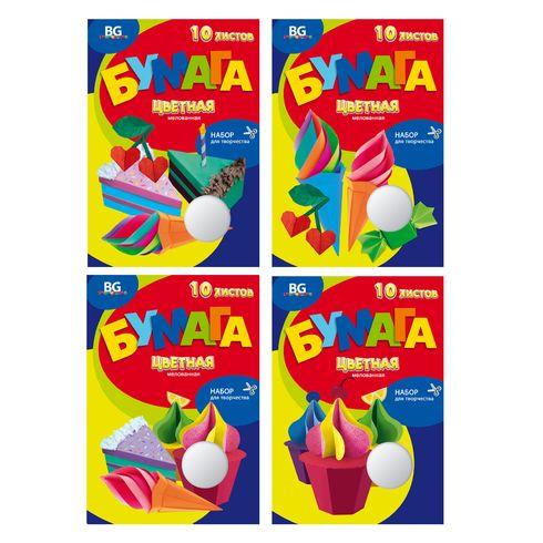 Набор цветной бумаги А4 мел 10цв 10л Сладости BG_5492