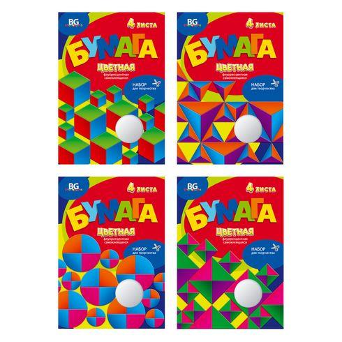 Набор цветной бумаги А4 самоклеящ 4цв 4л в/п BG_5544 Яркие грани флуоресц