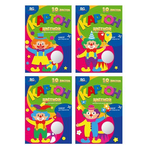 Набор цветного картона А4 2х-ст 20цв 10л мел в/п BG_5438 Веселый клоун