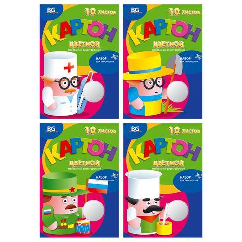 Набор цветного картона А4 2х-ст 20цв 10л мел в/п BG_5437 Моя профессия