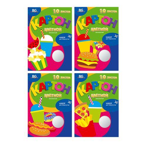 Набор цветного картона А4 10цв 10л мел BG_5428 Вкусные поделки в/п