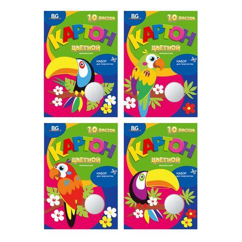 Набор цветного картона А4 10цв 10л мел BG_5427 Тропические птицы в/п