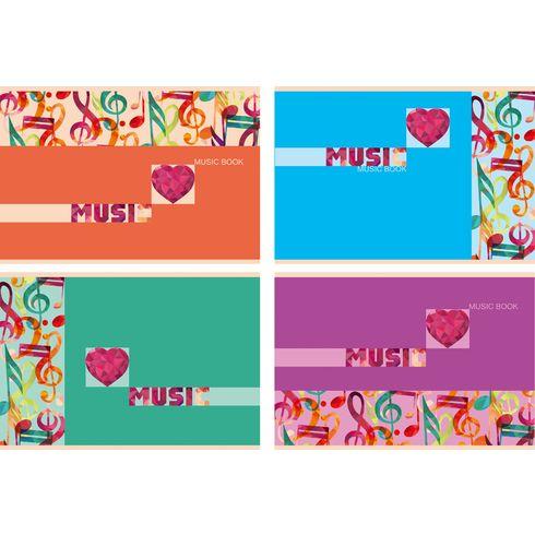 Тетрадь для нот А5 24л на скобе Цветная музыка BG_1373