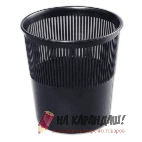 Корзина для бумаг пластик 9л черная СТАММ КР21