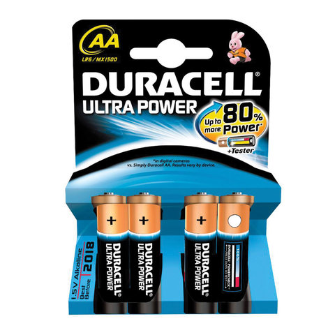 Батарейки Duracell AA LR6 Alkaline Ultra Power 454225/шк2573 4шт/уп