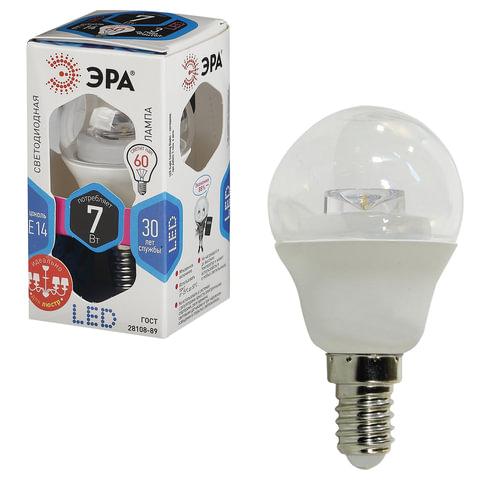 Лампа светодиодная Эра E14 7(60)Вт холод бел свет smdP45-7w-840-E14
