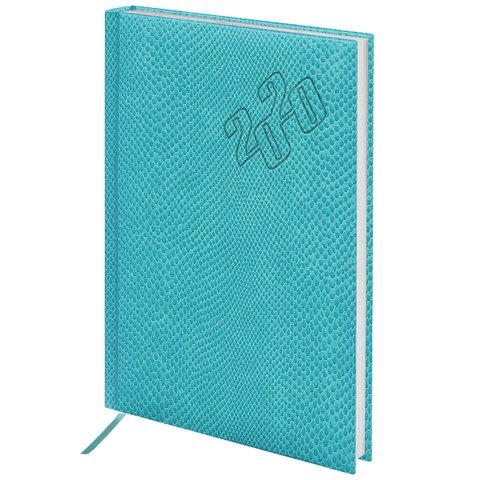 Ежедневник датир на 2020г А5 Brauberg Rainbow Croc 129737 бирюз