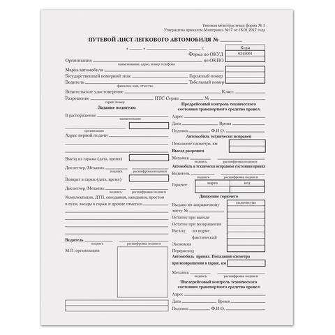 Путевой лист лег/авт А5 100шт 130045