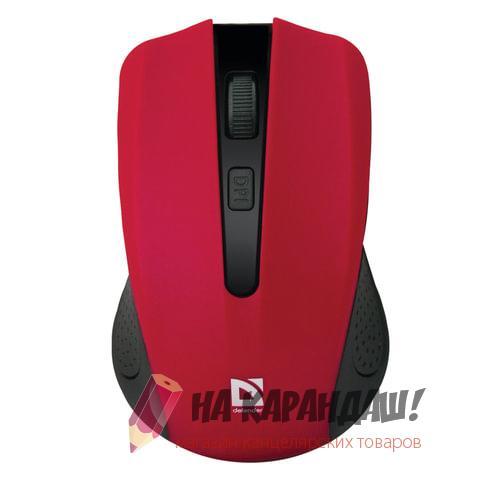 Мышка оптическая беспроводная Defender Accura MM-935 3 кнопки  красная 52937
