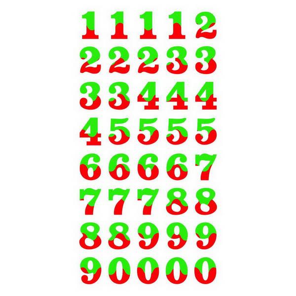 Наклейки ЦИФРЫ-БУКВЫ 6.5x12.5см FD060016 зол кант микс