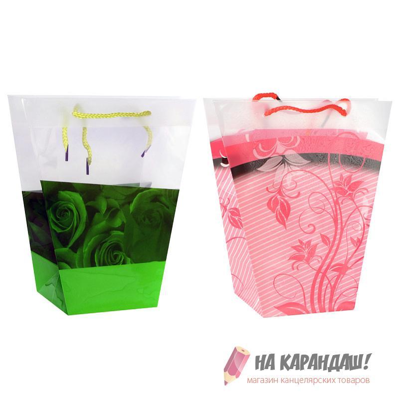 Пакет подар пласт д/цветов BG7814