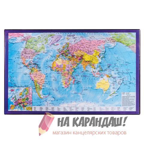 Покрытие настол 380*590мм Brauberg 236777 карта мира