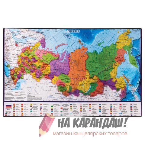 Покрытие настол 380*590мм Brauberg 236776 карта России