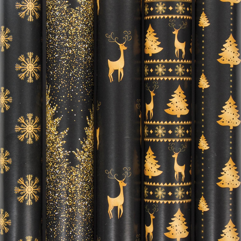 Упаковочная бумага новогод 0.7*1м 70г/м ЗС Black&Gold 591584